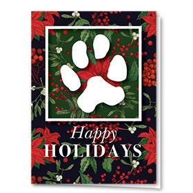 Veterinary Holiday Cards - Poinsettia Paw