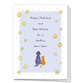 Foil Veterinary Holiday Cards - Snowflakes and Paws