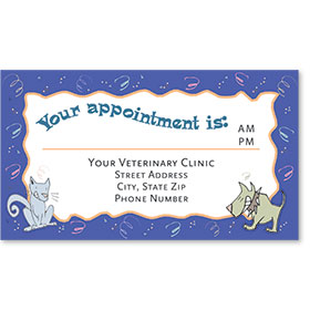 Full-Color Veterinary Appointment Cards - Confetti Pets