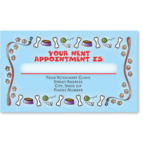Full-Color Veterinary Appointment Cards - Bones & Paws