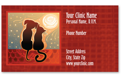 Veterinary Business Cards w/ Appointment - Sunset Friends