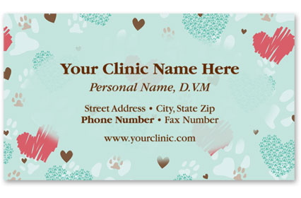 Veterinary Business Cards w/ Appointment - Heart Prints