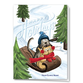 Veterinary Holiday Cards - Fresh Tracks Duo