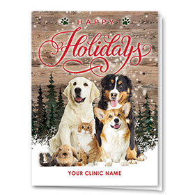 Veterinary Holiday Cards - Rustic Holiday