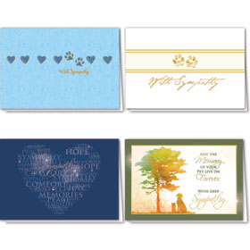 Foil Pet Sympathy Cards Assortment Pack - 10