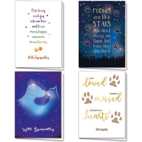 Foil Pet Sympathy Cards Assortment Pack - 20