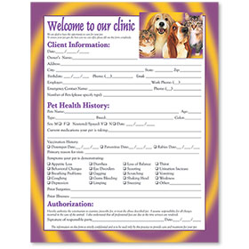 Veterinary Welcome Sheet - Pet Family