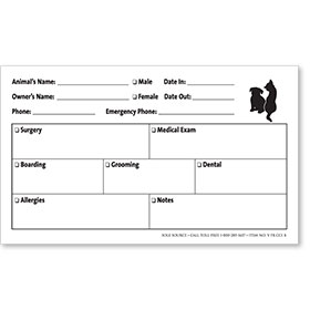 "Veterinary Cage Cards 4"" x 6"" - Style B"