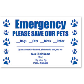 Pet Safety Sticker - Emergency