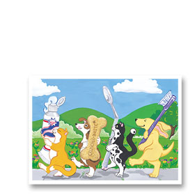 3-Up Veterinary Postcards - Dental Parade