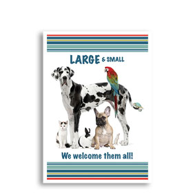 3-Up Veterinary Postcards - Welcome Large & Small