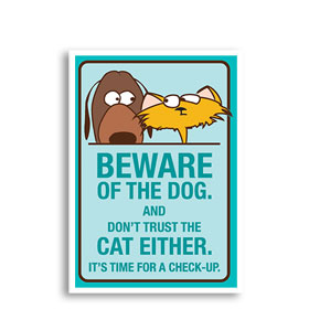 3-Up Veterinary Postcards - Beware of Dog