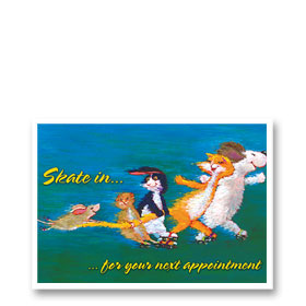3-Up Veterinary Postcards - Skating to the Vet