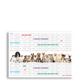 3-Up Veterinary Postcards - Reminder Words