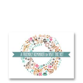 3-Up Laser Veterinary Postcards - Pet Wreath