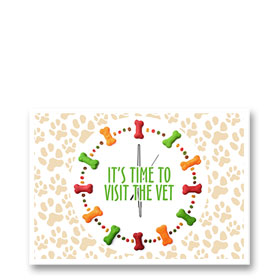 3-Up Veterinary Postcards - Treat Clock