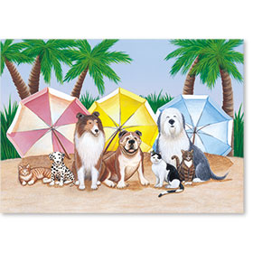Standard Postcards-Beach Pets