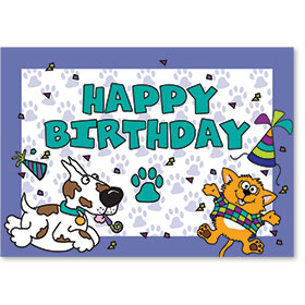 Standard Veterinary Birthday Postcards - Party Animals