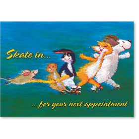 Standard Veterinary Reminder Postcards - Skating to the Vet