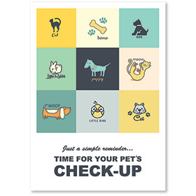 Standard Veterinary Reminder Postcards - Patchwork Pets