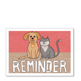 Standard Veterinary Reminder Postcards - Sweetheart Reminder