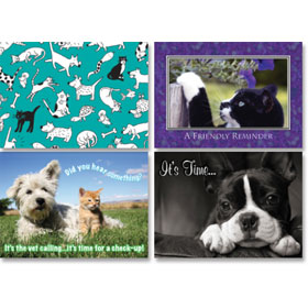 Veterinary Reminder Postcards Assortment - Laser Pkg 05