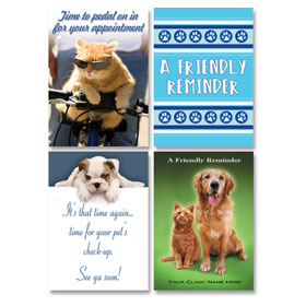 Veterinary Reminder Postcards Assortment - Laser Pkg 06
