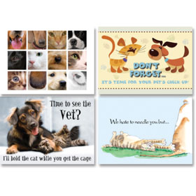 Veterinary Reminder Postcards Assortment - Laser Pkg 08