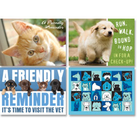 Veterinary Reminder Postcards Assortment - Laser Pkg 09