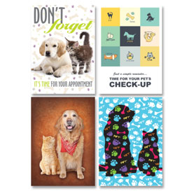 Veterinary Reminder Postcards Assortment - Laser Pkg 10