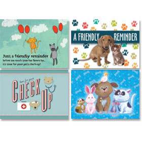 Veterinary Reminder Postcards Assortment - Laser Pkg 11