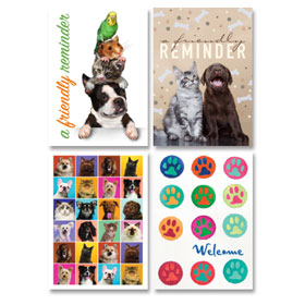 Veterinary Reminder Postcards Assortment - Laser Pkg 12