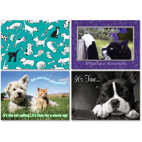 Personalized Veterinary Reminder Postcards Assortment - PC Pkg 05
