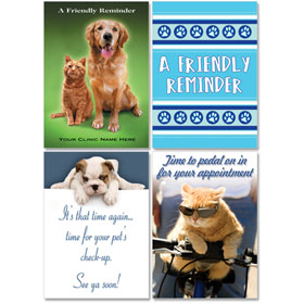 Personalized Veterinary Reminder Postcards Assortment - PC Pkg 06