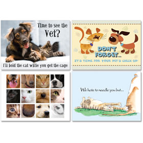 Personalized Veterinary Reminder Postcards Assortment - PC Pkg 08