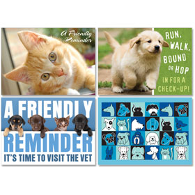 Personalized Veterinary Reminder Postcards Assortment - PC Pkg 09