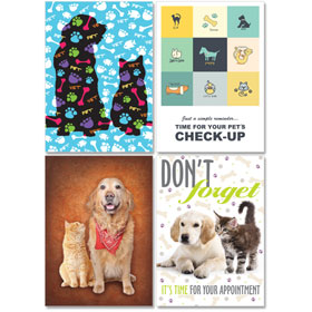 Personalized Veterinary Reminder Postcards Assortment - PC Pkg 10