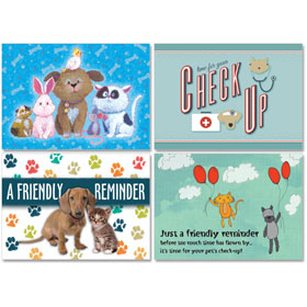 Personalized Veterinary Reminder Postcards Assortment - PC Pkg 11