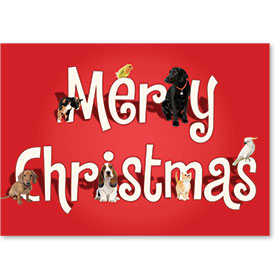 Veterinary Holiday Postcards - Merry Animals