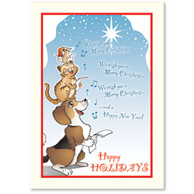 Veterinary Holiday Postcards - Caroling Pets