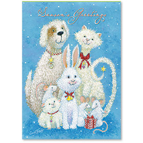 Veterinary Holiday Postcards - Festive Pets