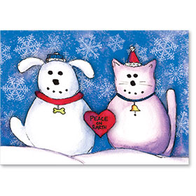 Veterinary Holiday Postcards - Snow Pets