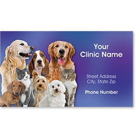 Full-Color Veterinary Magnetic Business Cards - Family Portrait