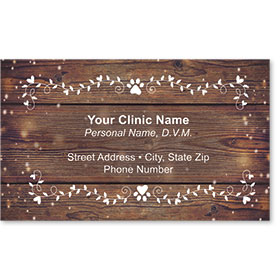 Full-Color Veterinary Magnetic Business Cards - White Leaves