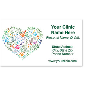 Full-Color Veterinary Magnetic Business Cards - Tiny Floral