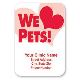 Standard Veterinary Magnet - We Love Pets (Red)