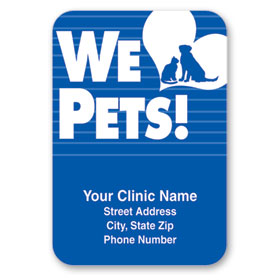 Standard Veterinary Magnet - We Love Pets (Blue)