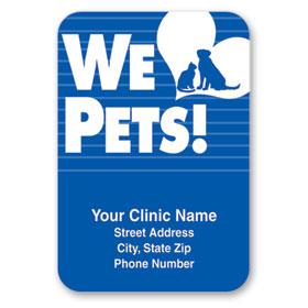 Standard Veterinary Magnet - We Love Pets (Blue)