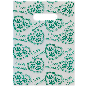 "Scatter Print Plastic Clinic Supply Bags - 9"" x 12"" - I Love Pets"