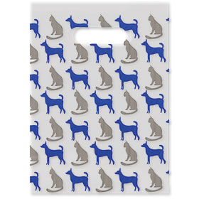 "Scatter Print Plastic Clinic Supply Bags - 9"" x 12"" - Blue Grey Pets"